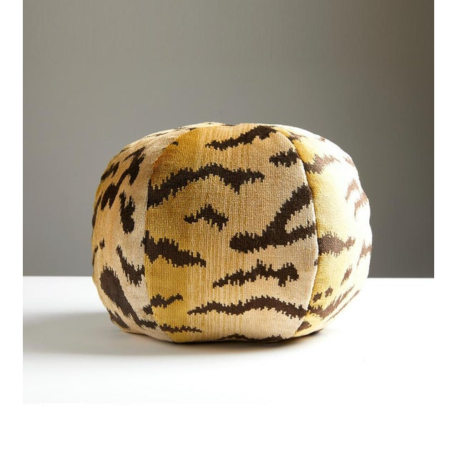 Iconic Tigre sphere pillow in silk blend. Feather down insert included, hidden zipper closure.