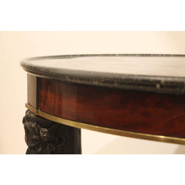 Carved Fauna Head Empire Tripod Pedestal Table in Mahogany, Marble & Giltbronze For Sale - Image 9 of 12