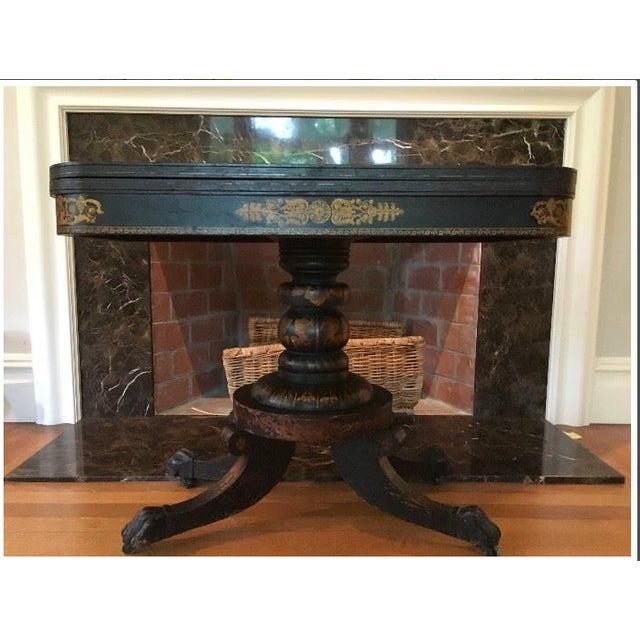 19th Century Traditional Ebonized Gilt Stenciled Card Table For Sale In Boston - Image 6 of 6