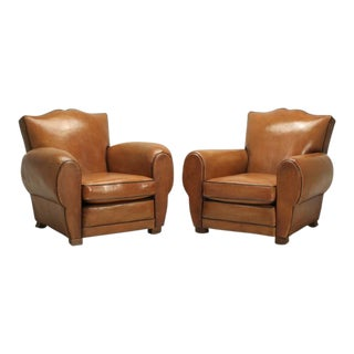 French Original Leather Restored Club Chairs - a Pair For Sale