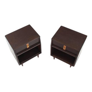 Mid-Century Modern Ebonized Nightstands- a Pair For Sale
