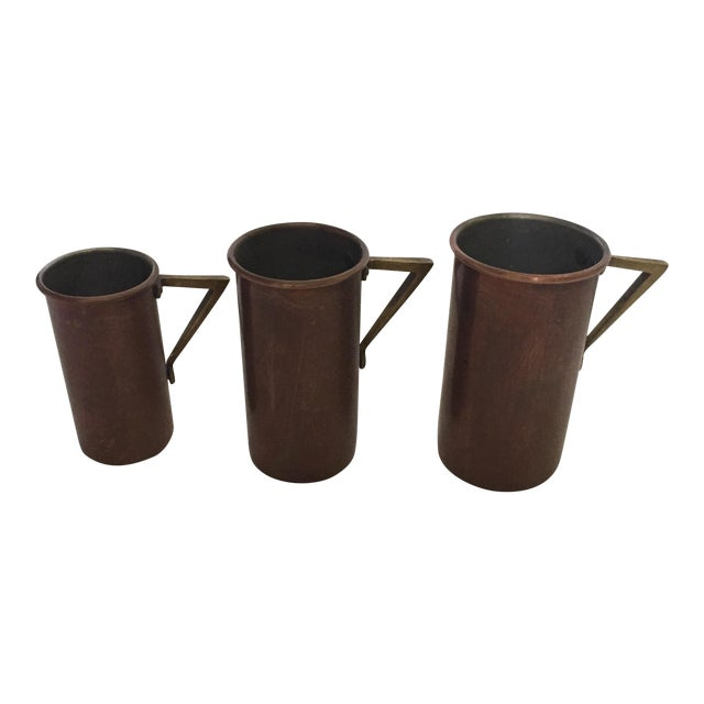 Art Deco Copper & Brass Measuring Cups - Set of 3 For Sale