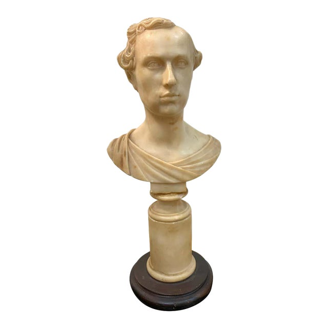 Italian Neoclassical Alabaster Portrait Bust of a Gentleman, by Insom Fece, 1839 For Sale