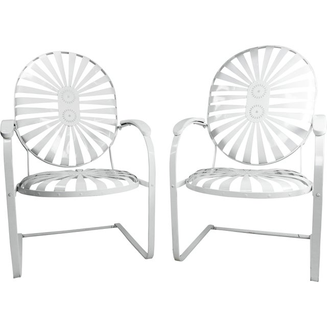 Francois Carre Vintage Sunburst Cantilevered Chairs - A Pair - Image 11 of 11