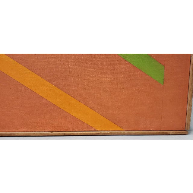 Black Tom Patrick (American, 20th C.) Vintage Geometric Abstract Painting on Canvas C.1970s For Sale - Image 8 of 11