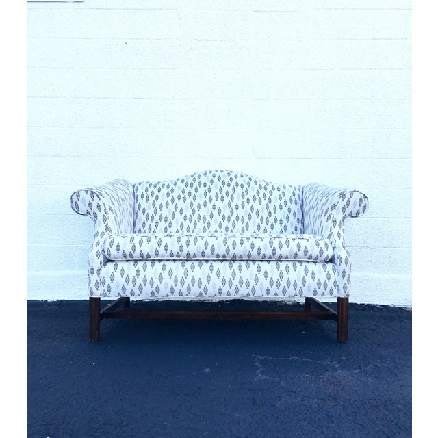 This vintage camel back loveseat was reupholstered in gray/brown and white/cream DwellStudio's Boteh print. Very minimal...