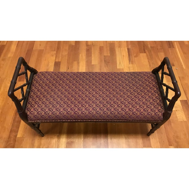 Late 20th Century Chinese Chippendale Style Faux Bamboo Fretwork Window Bench For Sale - Image 5 of 6