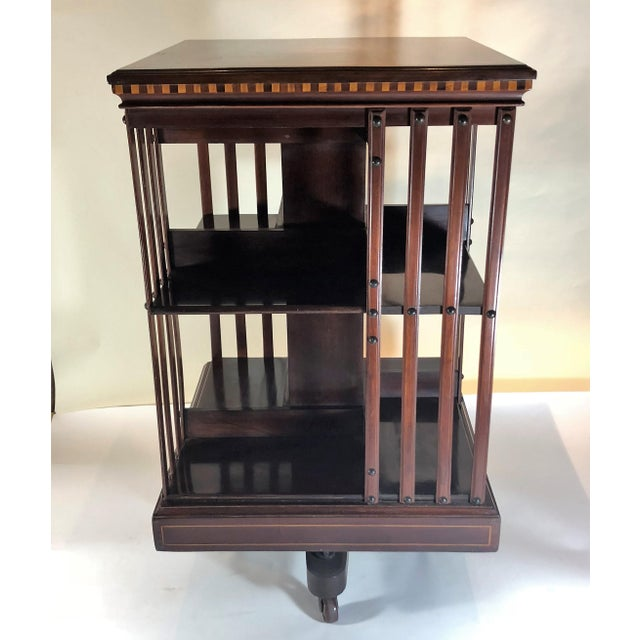 Antique English 19th Century Mahogany and Satinwood Inlay Bookstand. For Sale - Image 4 of 7