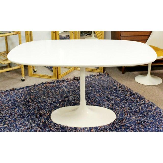 White Mid Century Modern Saarinen Style Rectangular White Tulip Dining Table For Sale - Image 8 of 8