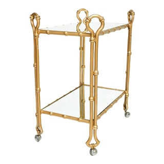 Arturo Pani Gilded Faux Bamboo Service Bar Cart Mexican Modern Regency 1950s For Sale
