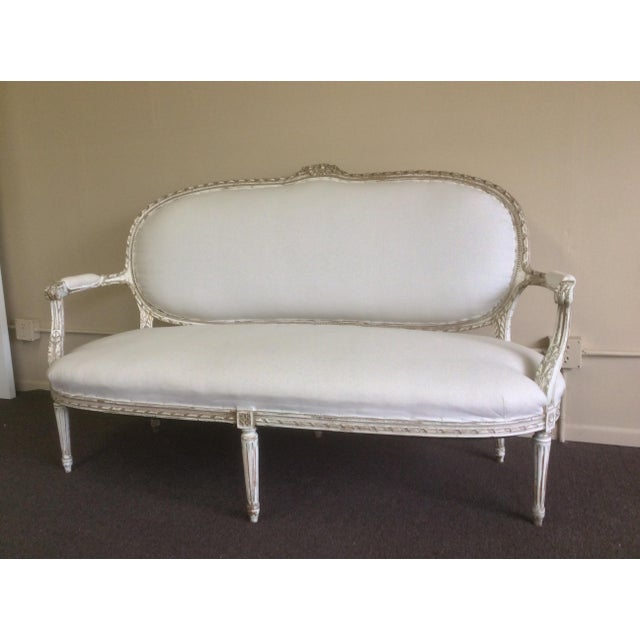 Antique French Settee With Worn White Painted Finish For Sale - Image 11 of 12