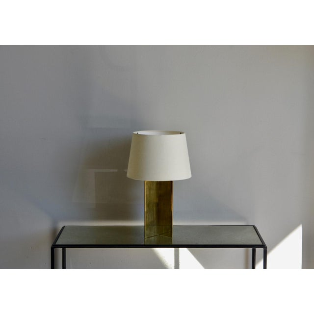 "Contemporary ""Croissillon"" Polished Brass and Parchment Table Lamp For Sale - Image 4 of 8"