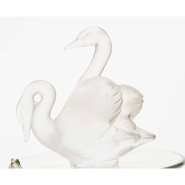 Traditional Lalique Two Swans Crystal Ring/Pin Tray For Sale - Image 3 of 4