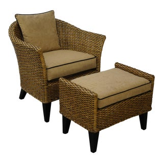 Barrel Back Rattan Lounge Chair & Ottoman For Sale