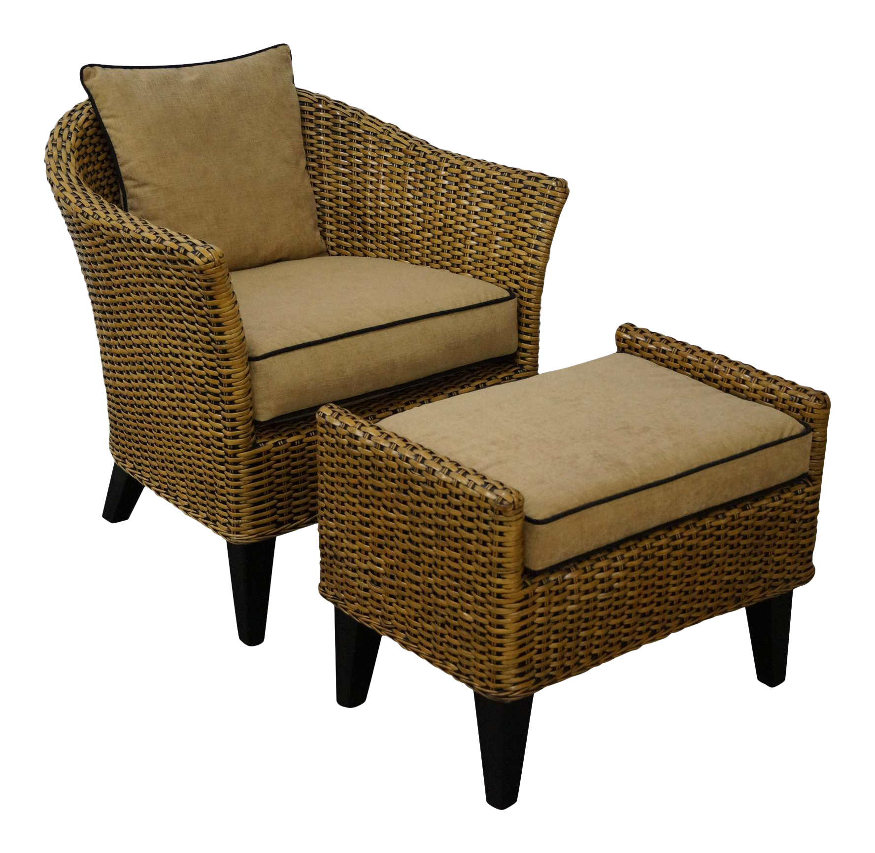 Barrel Back Rattan Lounge Chair U0026 Ottoman