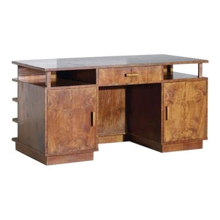 Italian Art Deco Burled Wood Desk, Attributed to Atelier Borsani For Sale