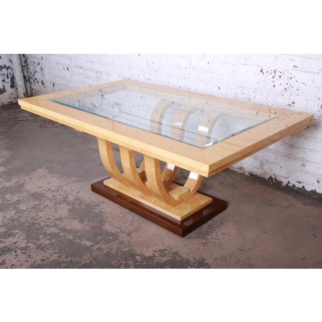 Italian Art Deco Birdseye Maple and Mahogany Pedestal Extension Dining Table For Sale - Image 11 of 11
