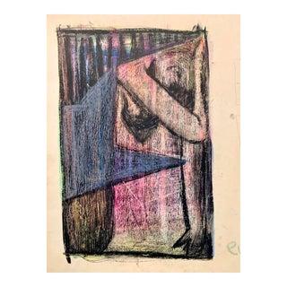 """Donald Stacy """"Eve"""" C.1950s Gouache & Oil Pastel Mid Century Portrait For Sale"""