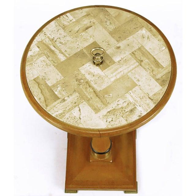 Mid-Century Modern Bleached Mahogany and Herringbone Travertine Gueridon For Sale - Image 3 of 5