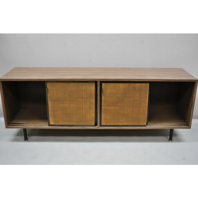 Metal 1970s Mid Century Modern Laminate Formica Case Credenza For Sale - Image 7 of 13