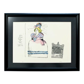 Mid Century Modern Robert Israel Signed Ap Hand Colored Litho Pretty Polly 1970 For Sale