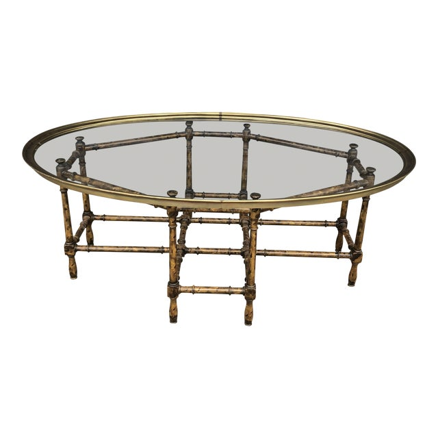 Vintage Faux Bamboo Brass Tray Top Coffee Table For Sale