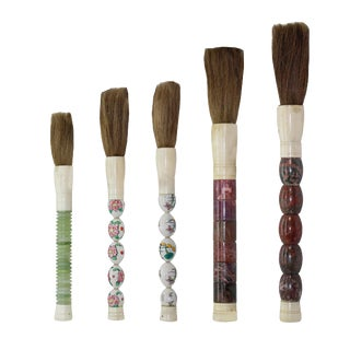 Lot of 5 Chinese Traditional Calligraphy Writing Scroll Painting Brush Pen