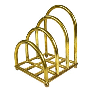 Vintage Mid Century Brass Arched Letter Envelope Holder For Sale