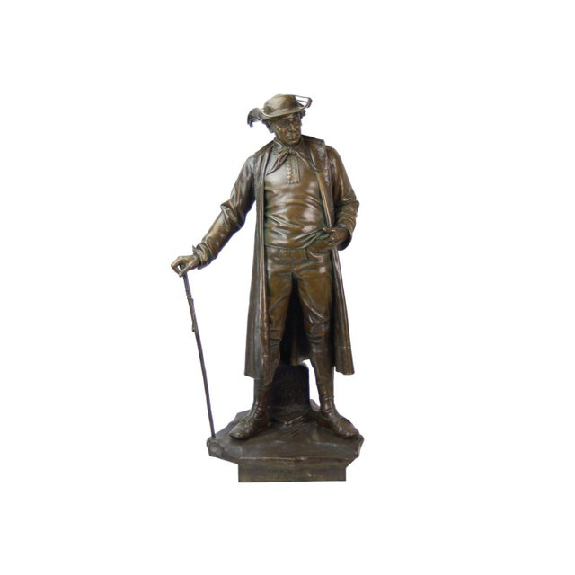 Metal 1887 Austrian Bronze Genre Statue of Man in Duster Coat W Cane and Bush Hat For Sale - Image 7 of 7
