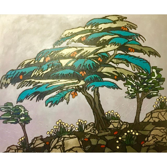 Cedar of Lebanon, Kaleidoscopic Perspective Series Painting For Sale