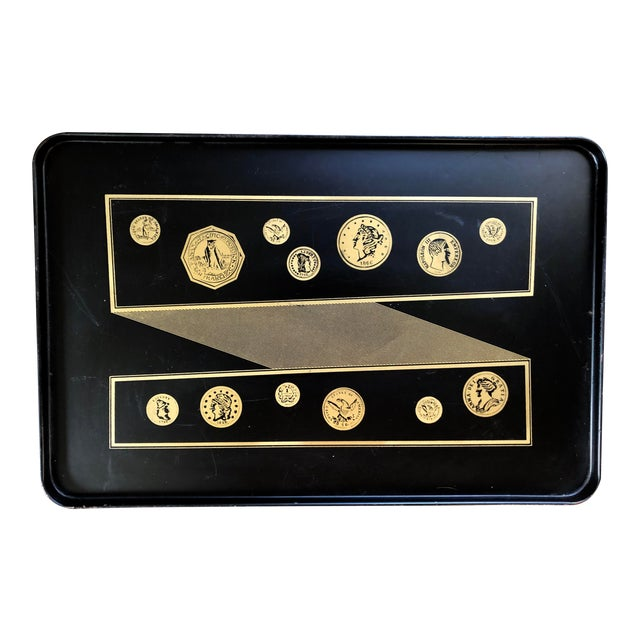 Mid Century Black Gold Fornasetti Style Coins Serving Tray For Sale