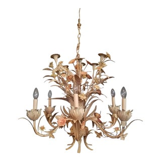 Large Early 21st Century Floral Tole Chandelier For Sale
