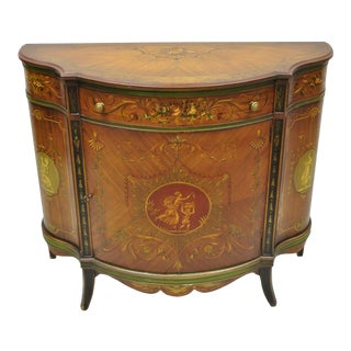 20th Century Neoclassical Johnson Handley Adams Paint Decorated Demilune Bombe Commode For Sale