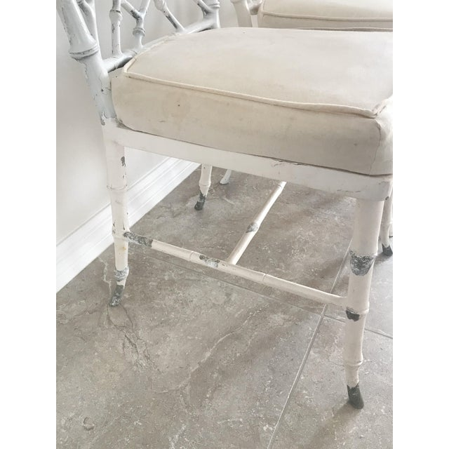 Faux Bamboo Vintage Phyllis Morris Style Metal Faux Bamboo Chairs - Set of 4 For Sale - Image 7 of 8