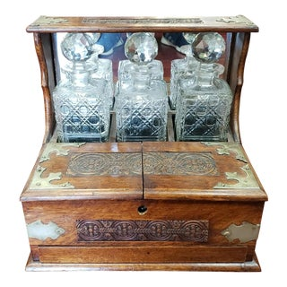 1880s English Oak and Crystal Tantalus Decanter Set With Hidden Drawer For Sale