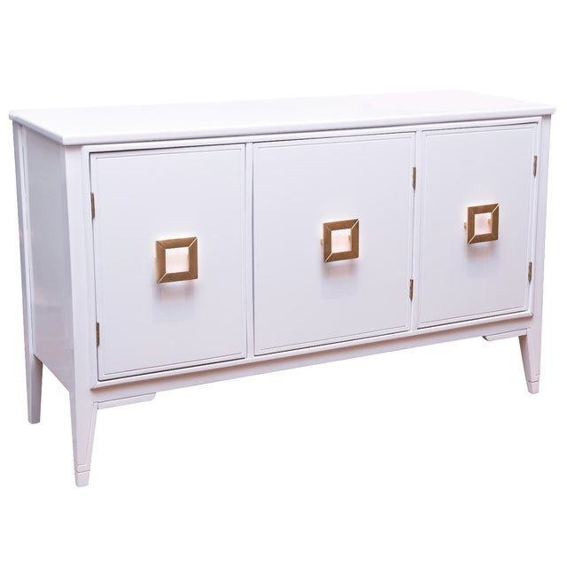 Vintage 3-Door White Lacquer Console - Image 1 of 6