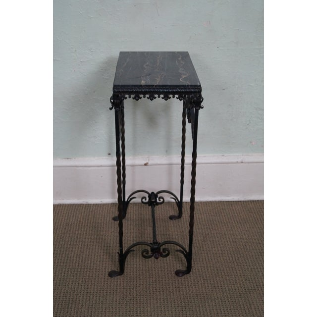 Antique Gothic Wrought Iron Marble Console Table - Image 3 of 10