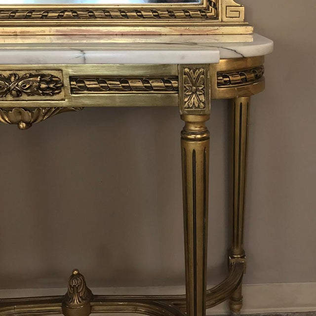 19th Century French Louis XVI Marble Top Giltwood Console With Mirror For Sale - Image 9 of 12
