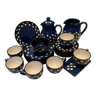Swiss 1970s Traditional Blue Coffee & Tea Service Set - Service for 6 For Sale