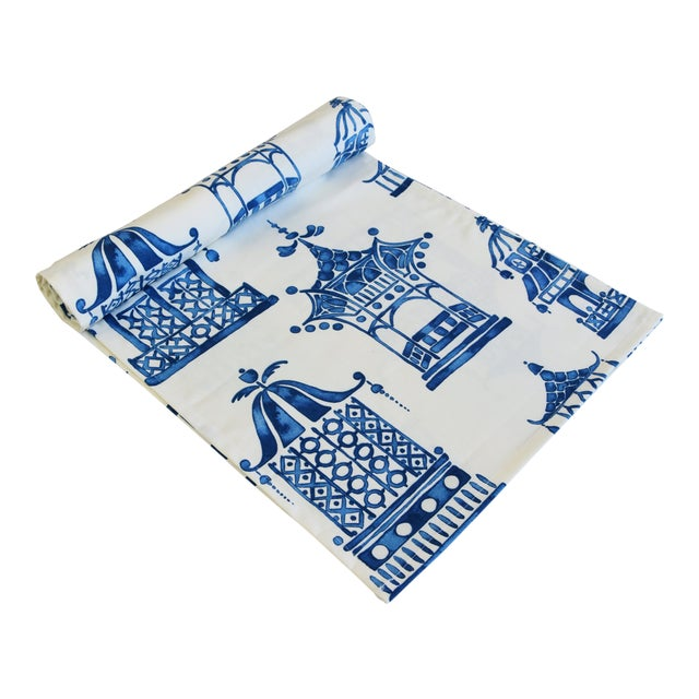 "Chinoiserie Blue & White Pagoda Table Runner 110"" Long For Sale"