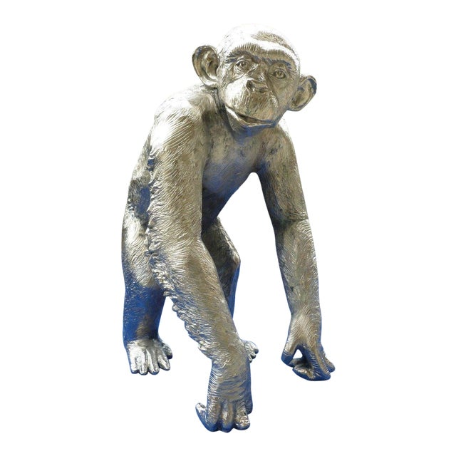 1970s Modern Life Size Nickel Plated Bronze Chimpanzee Statue For Sale