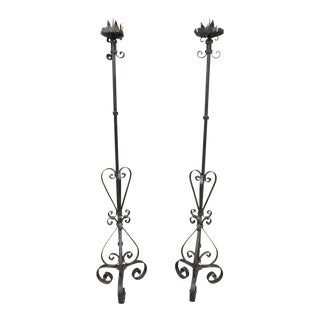 "Pair Antique Wrought Iron Pricket Stick Floor Candle Holder Gothic 64"" Medieval For Sale"