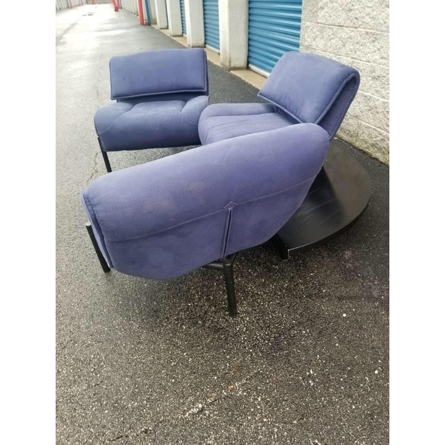 Mid-Century Modern Vintage Mid Century Modern Vico Magistretti for Cassina Blue Three Seat Veranda Sofa- 3 Pieces For Sale - Image 3 of 11