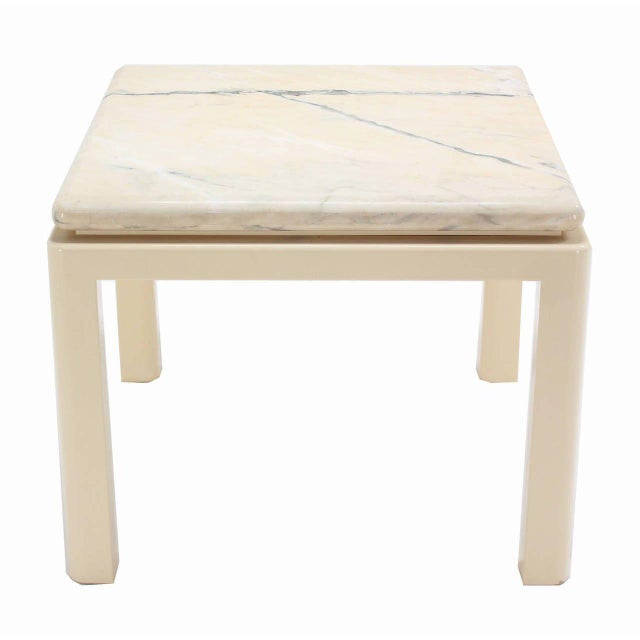 20th Century Modern Marble-Top and Enameled Metal Base Game/Dining Table For Sale - Image 9 of 11