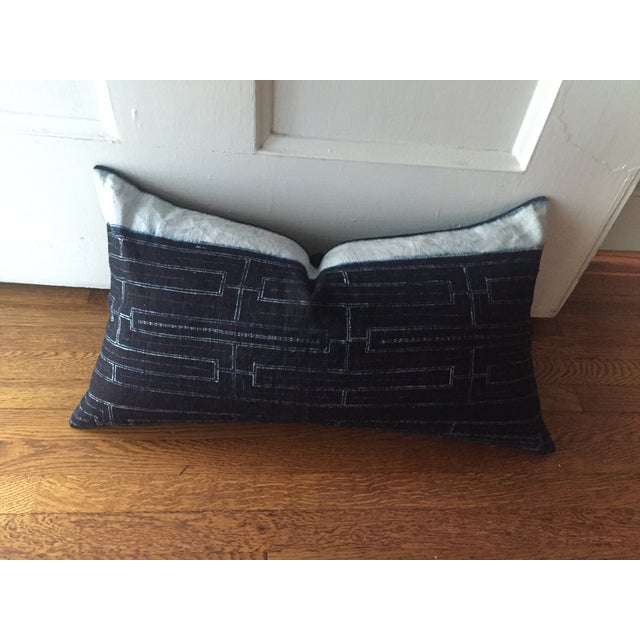 Rustic Indigo Stripe Hmong Lumbar Pillow Cover - Image 4 of 8