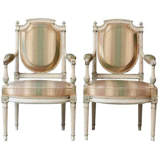 Pair of 19th Century French Louis XVI Style Painted Fauteuils For Sale