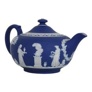 Wedgwood Blue Jasperware Greeks Vintage Tea Pot 2443b For Sale