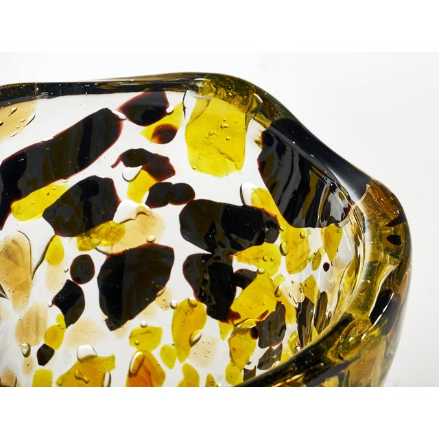 """Spectacular Murano glass """"Pollock"""" vase signed by Alberto Dona. This substantial and impressive piece features yellows and..."""