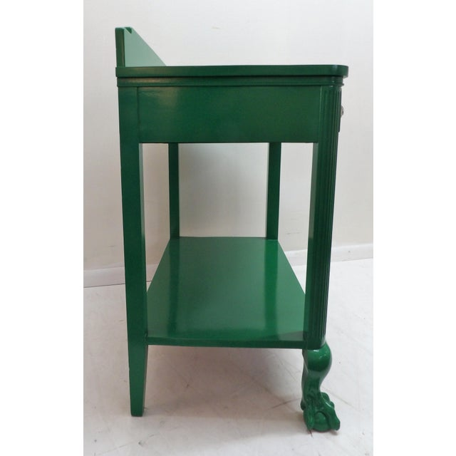 Antique Green Lacquer Wood Console Table For Sale - Image 9 of 11