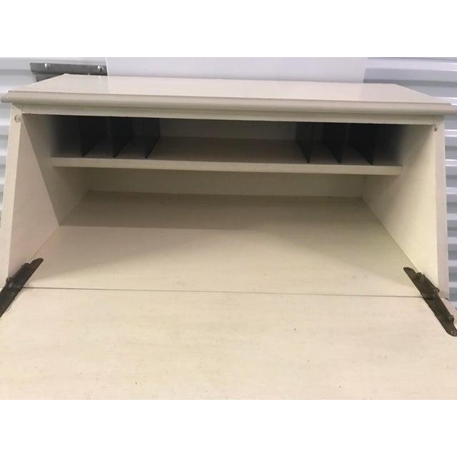 Petite White Faux Bamboo Secretary Desk For Sale - Image 5 of 9